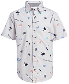 Calvin Klein Jeans Big Boys Stripe Tropical Logo-Print Shirt