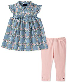 Little Girls 2-Pc. Floral-Print Denim Tunic & Leggings Set