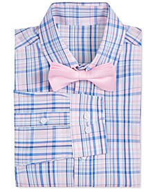 Big Boys 2-Pc. Stretch Blue/Pink Plaid Dress Shirt & Pink Geo Bow Tie Set