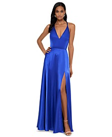 Tricolor Tie-Back Satin Gown