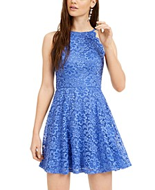 Juniors' Scalloped Lace Fit & Flare Dress