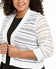 Plus Size Three-Quarter-Sleeve Cardigan