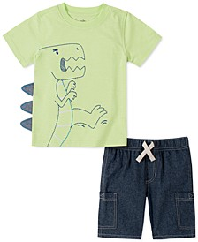 Little Boys 2-Pc. Dino Embroidered Appliqué T-Shirt & Chambray Shorts Set