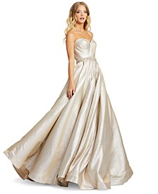 Strapless Metallic Gown