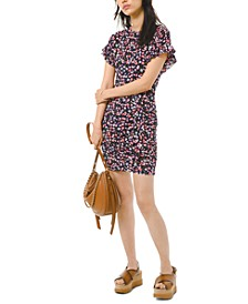 Floral-Print Flutter-Sleeve Mini Dress