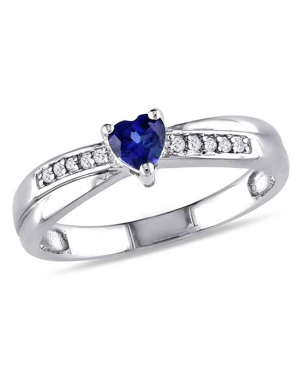 Macy's Created Sapphire (1/4 ct. t.w.) and Diamond Accent Heart Ring in Sterling Silver