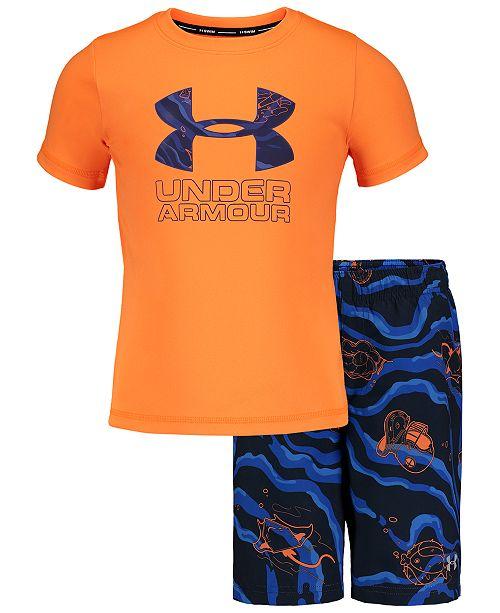 Under Armour Toddler & Little Boys 2-Pc. Sport Fish Volley Rash Guard & Swim Trunks Set