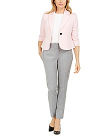 Petite Single-Button Stretch Crepe Blazer & Carly Textured Dress Pants