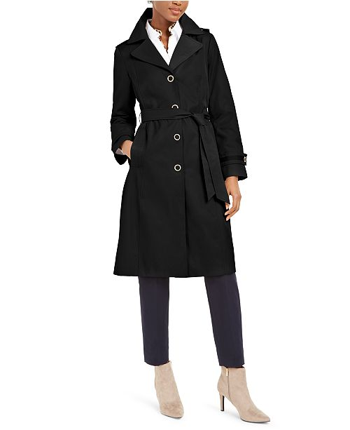 Anne Klein Belted Hooded Raincoat