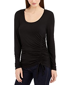 INC Long-Sleeve Ruched-Front Top, Created For Macy's