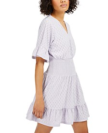Eyelet Smocked Dress, Available in Regular and Petites