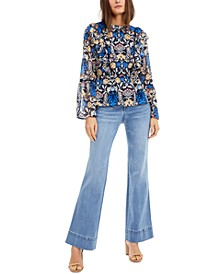 INC Floral Ruffle-Neck Top & Sailor Flare-Leg Jeans, Created for Macy's