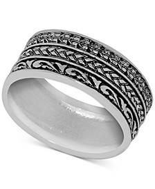 Patterned Band Ring in Fine Silver-Plate