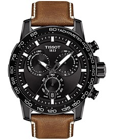 Men's Swiss Chronograph Supersport T-Sport Brown Leather Strap Watch 46mm