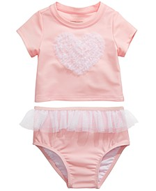 Baby Girls 2-Pc. Tulle Rash Guard Set, Created for Macy's