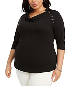 Plus Size Grommet-Trim Cowlneck Top