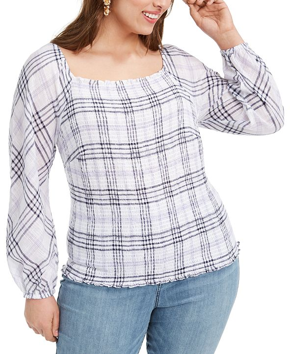 INC International Concepts INC Plus Size Smocked Plaid Top, Created for Macy's