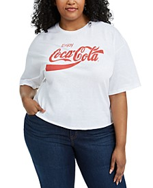 Trendy Plus Size Cotton Coca-Cola Cropped T-Shirt