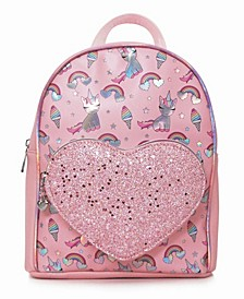Toddler, Little and Big Kids Lil Miss Gwen Sweet Treats Print Mini Backpack with Heart Pocket