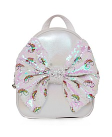 Toddler, Little and Big Kids Mini Backpack with Over The Rainbow Sequins Printed Bow