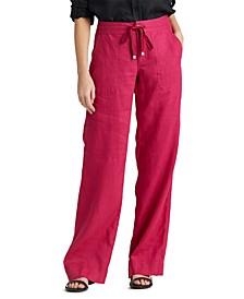 Petite Drawcord-Waist Linen Pants