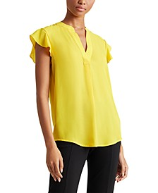 Petite Flutter-Sleeve V-Neck Top