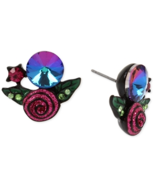 Betsey Johnson Black-Tone Crystal & Glitter Rose Stud Earrings