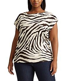 Plus-Size Print Dip-Dye T-Shirt
