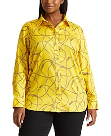 Plus-Size Print Cotton-Sateen Shirt