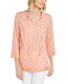 Foil-Print Linen Top, Created for Macy's