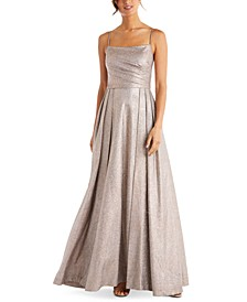 Juniors' Pleated Glitter Gown