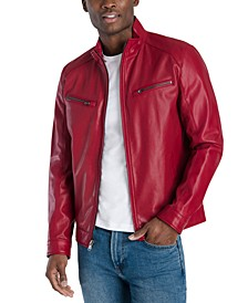 Men's Perforated Faux Leather Hipster Jacket, Created for Macy's