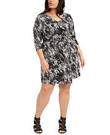 Belldini Plus Size Printed Wrap Dress