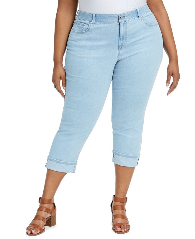 Style & Co Plus Size Tummy-Control Cuffed Capri Jeans, Created for Macy's