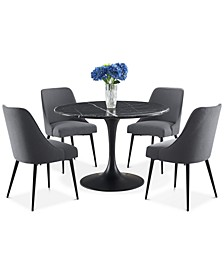 Colfax 5-Pc. Dining Set, (Black Table & 4 Side Chairs)