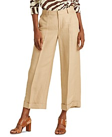 Petite Linen-Blend Wide-Leg Pants