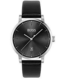 Men's Confidence Black Leather Strap Watch 42mm
