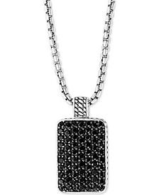 """EFFY® Men's Black Spinel Dog Tag 22"""" Pendant Necklace in Sterling Silver"""