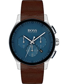 Men's Chronograph Peak Brown Leather Strap Watch 44mm