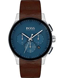 Men's Chronograph Peak Brown Leather Strap Watch 44mm