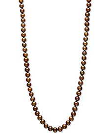 "Dyed Chocolate Cultured Freshwater Pearl (7mm) 24"" Statement Necklace"