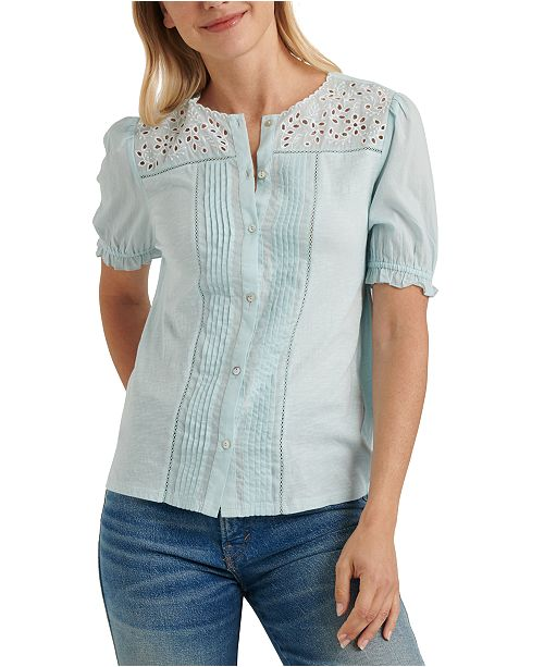 Lucky Brand Cotton Embroidered Top