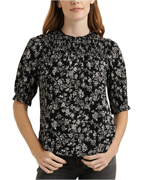 Lucky Brand Puff-Sleeve Printed Top