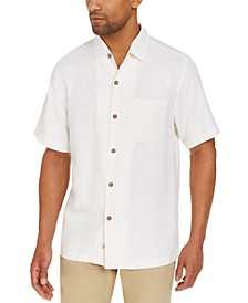 Men's Down The Hatch Classic-Fit Tropical-Jacquard Embroidered Silk Camp Shirt