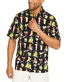 Men's Classic-Fit Tropical-Print Silk Camp Shirt