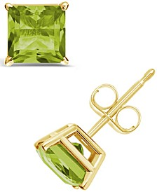 Princess-cut Gemstone Stud Earrings in 14K Yellow Gold