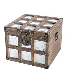 Vintorary Wooden Square Galvanized Metal Lined Storage Trunk, Small