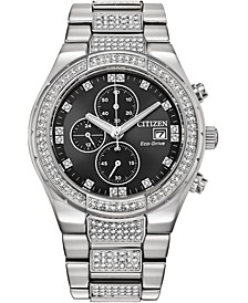 Men's Chronograph Eco-Drive Crystal Stainless Steel Bracelet Watch 42mm