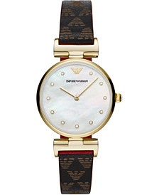 Women's Logo Leather Strap Watch 32mm