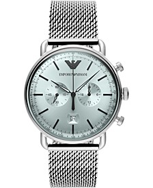 Men's Chronograph Stainless Steel Mesh Bracelet Watch 43mm